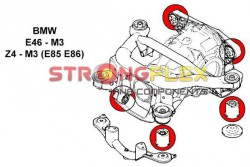BMW E46 M3 Silent blocs renforcés de berceau avec nez de pont et arriere de pont