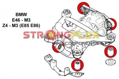 BMW E46 Silent blocs de berceau x4 + nez de pont x1 + arriere de pont x2
