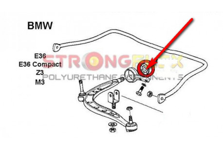 BMW E36 Silent blocs de bras arrière et Silent blocs de triangle 90 SHA