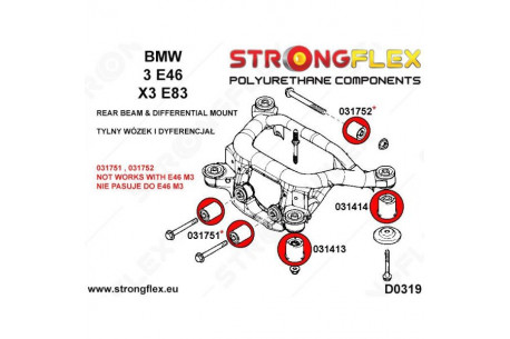 BMW E46 Silent blocs de berceau x4 + nez de pont x2 + arriere pont x1